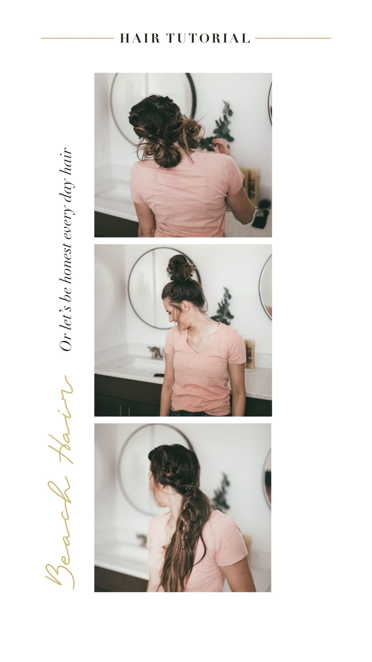 Hair at the beach or the pool can be tricky, these re 3 simple hairstyles that will keep your hair back & you looking put together! #summerhairstyles #beachair #poolhair #hairtutorial #hairstyle #updo