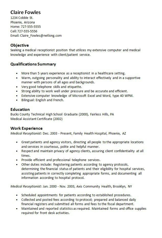 Objective For Resume Receptionist Image For 20 Medical Secretary
