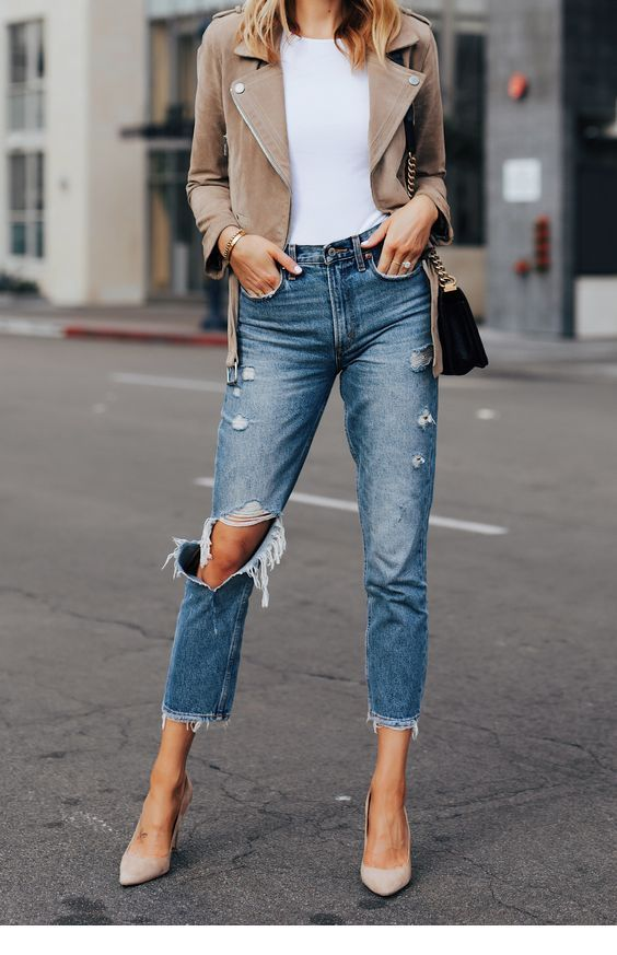 Nice beige jacket and jeans
