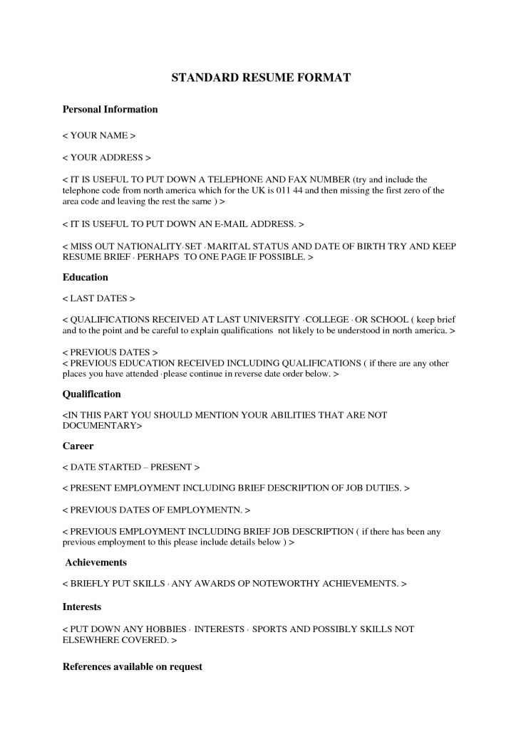 Standard Format Resume Standard Resume Templates To Impress Any - standard format resume