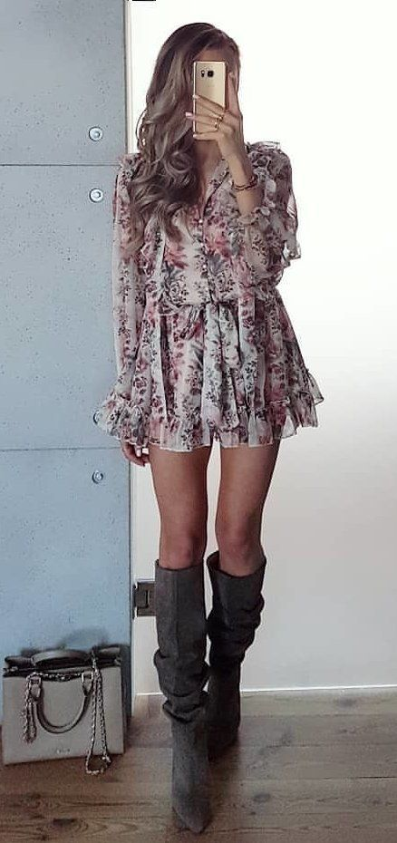 white and pink floral long-sleeved mini dress #spring #outfits