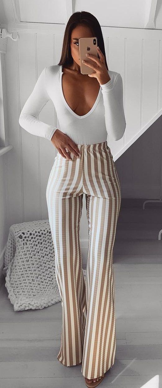 brown striped pants #spring #outfits