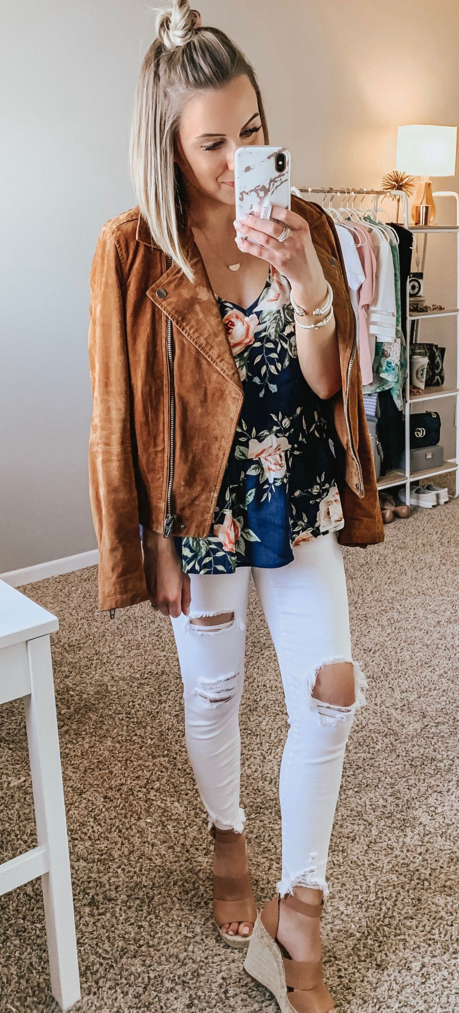 brown jacket and distressed white pants #spring #outfits