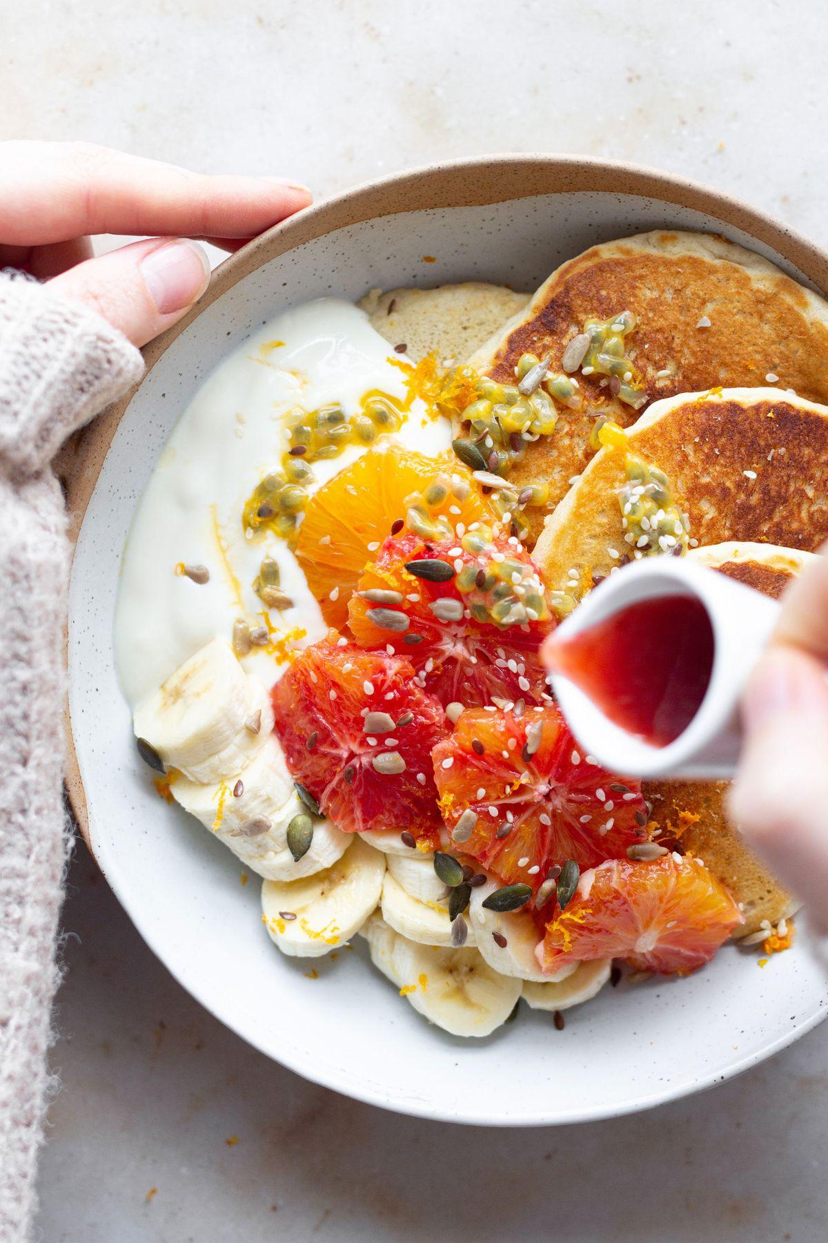 Zesty Vegan Pancakes Bowl - The Mother Cooker