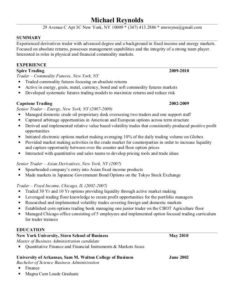 sales and trading cover letter equity execution trader cover letter ...