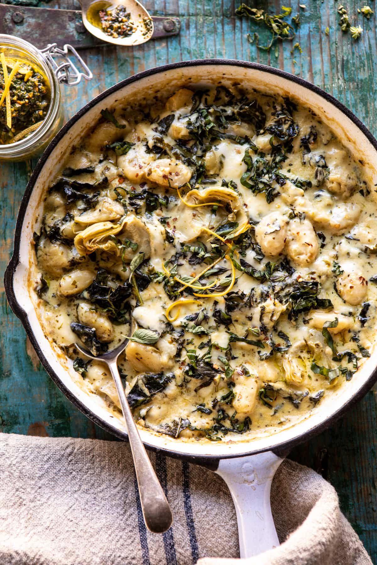 Skillet Baked Creamy Peston Spinach and Artichoke Gnocchi