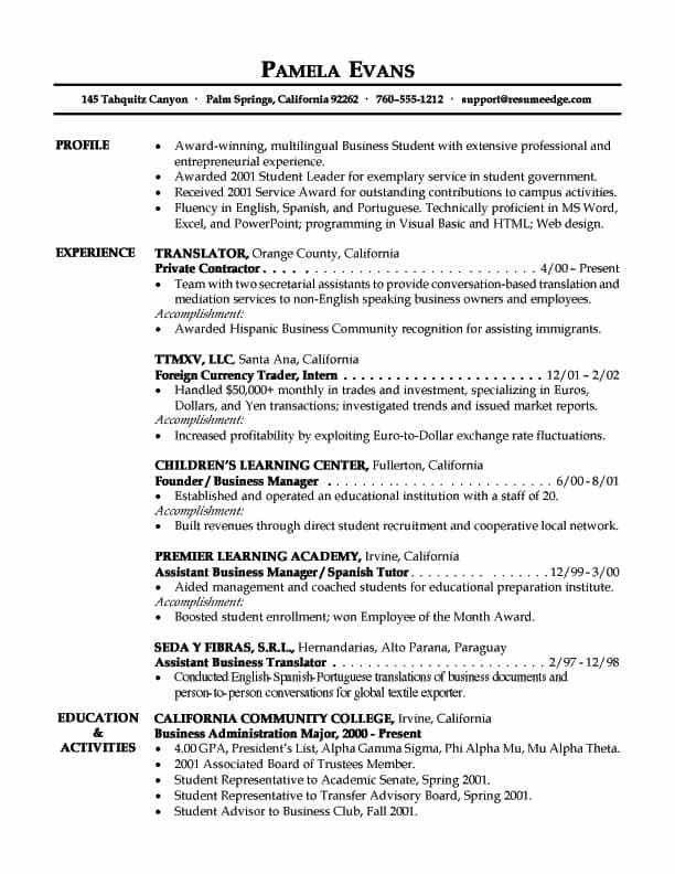 Entry Level Resume Objective Examples - Examples of Resumes - business resume objective