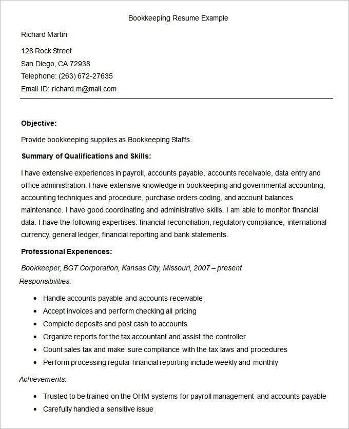 full charge bookkeeper resume sample
