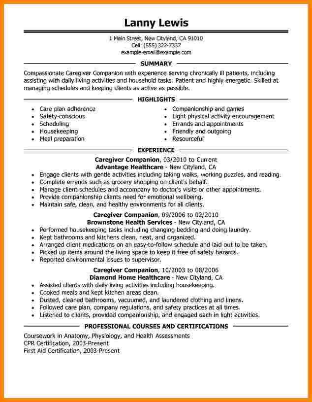 caregiver experience resume unforgettable caregiver resume