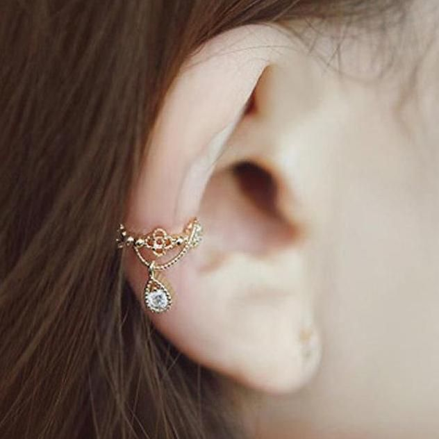 Cute Crystal Gold Ear Cuff Earring for Women Fashion Jewelry – lindo arete de oreja – www.MyBodiArt.com