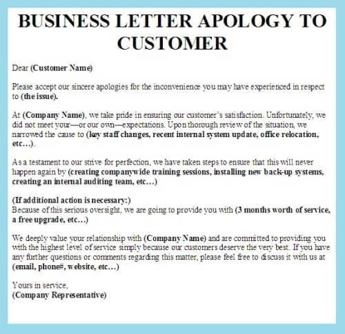 Examples Of Apology Letters To Customers sample business apology - work apology letter example