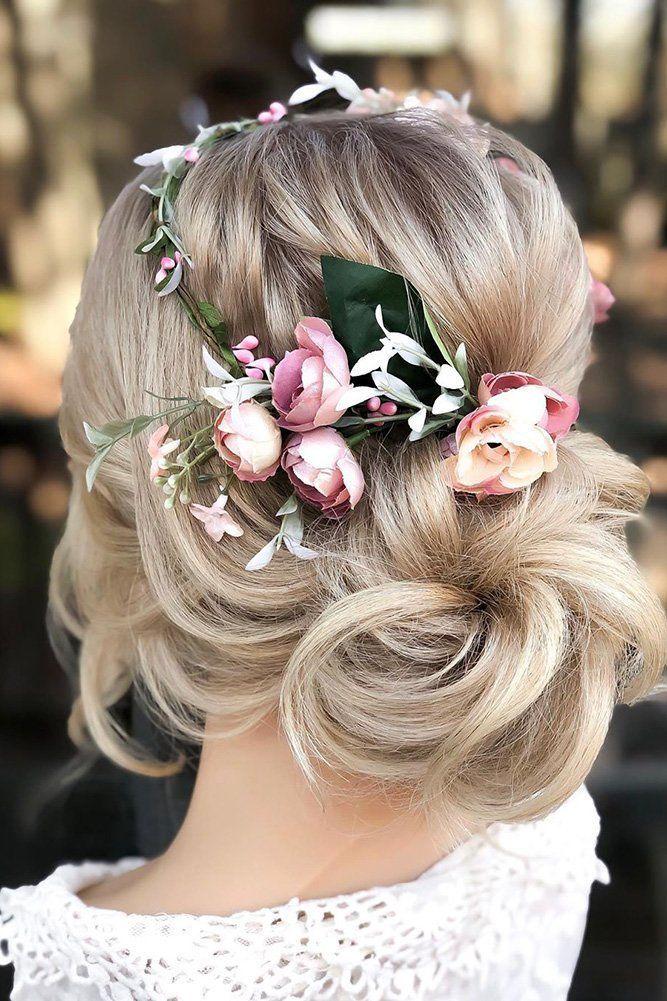 72 Best Wedding Hairstyles For Long Hair 2020 ❤ wedding hairstyles for long hair blonde low updo with pink flower crown styles_by_reneemarie #weddingforward #wedding #bride #weddinghairstylesforlonghair