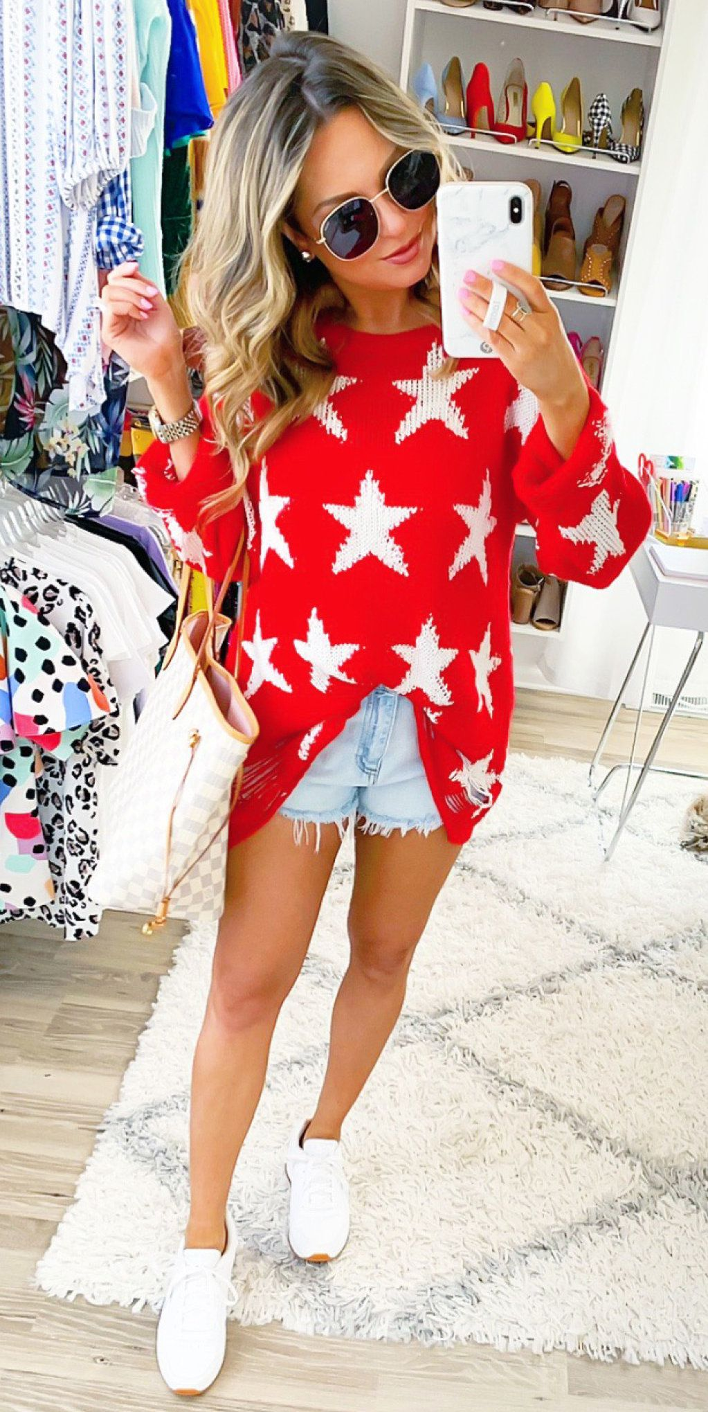 white and red star sweater #spring #outfits