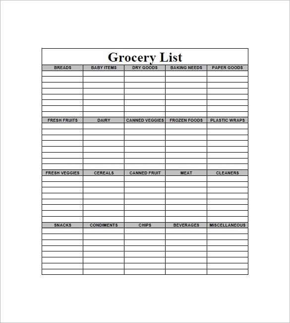 Shopping List Format Grocery List Template  Free Sample Example