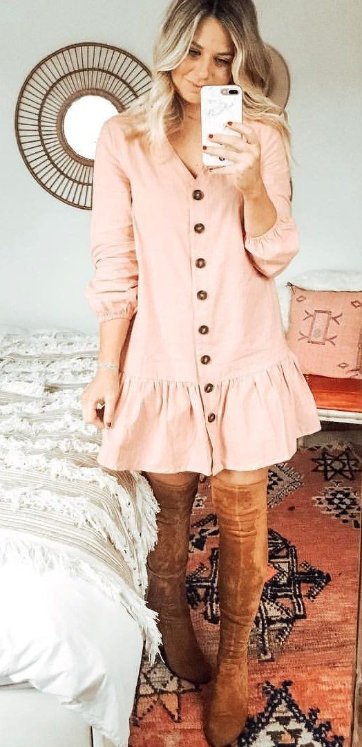 pink button-up long-sleeved dress and pair of brown leather thigh-high boots outfit