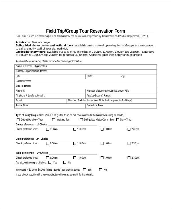 Reservation Forms In Pdf free reservation forms sample - format of admission form