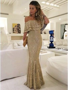 Mermaid Off-the-Shoulder Floor-Length Champagne Lace Prom Dress