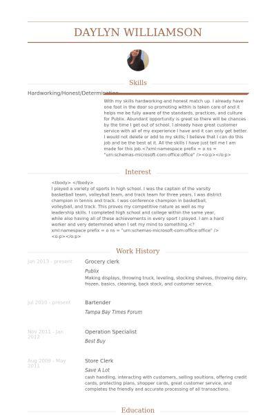 store clerk job description resume cv cover letter