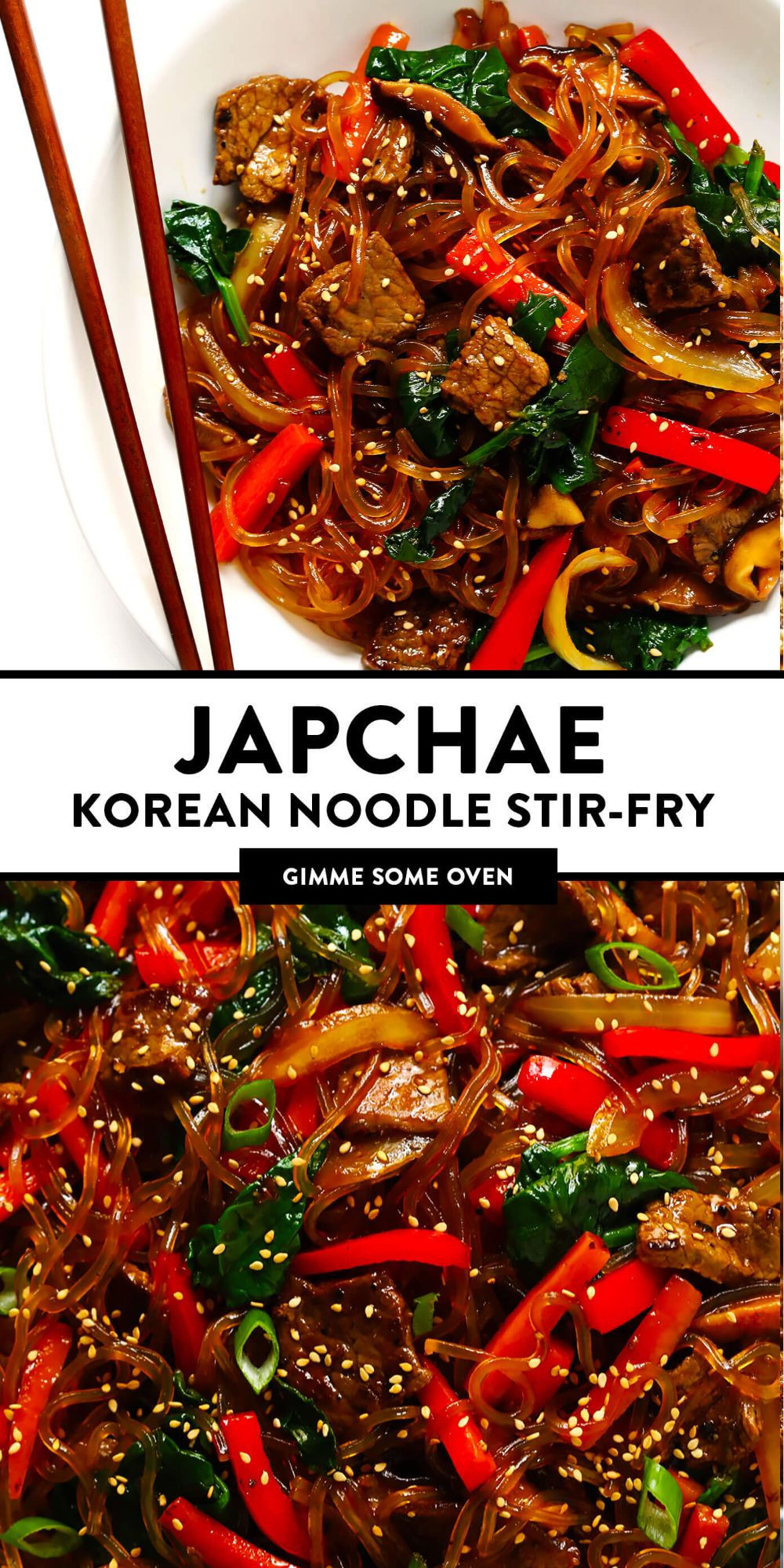 This Japchae (Korean noodle stir-fry) recipe is easy to make in just 30 minutes. It can be customized with your choice of veggies and protein (beef, chicken, shrimp, or tofu). And it is SO delicious! | gimmesomeoven.com #korean #noodle #stirfry #saute #pasta #beef #glutenfree #vegetarian #vegan #asian #dinner #mealprep #healthy