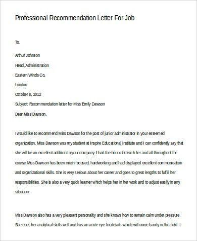 Sample Professional Letter Re mendation For Job] Letter