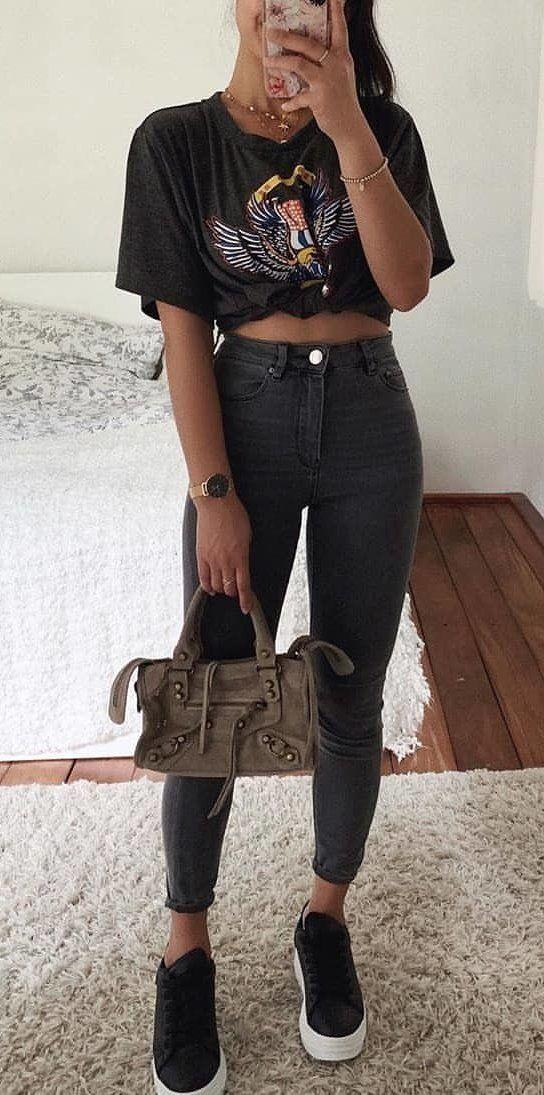 black denim jeans #summer #outfits