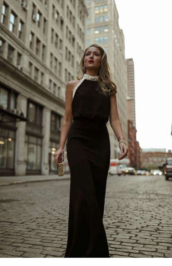 Glam long black dress with white pearls
