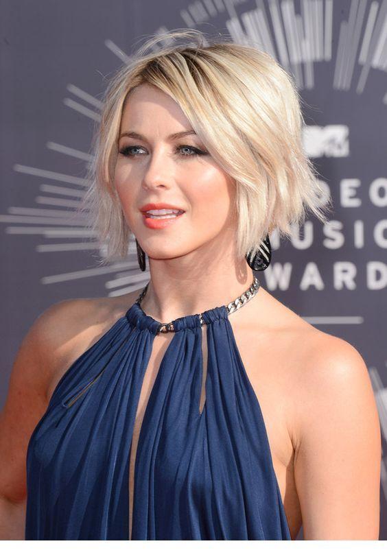 Short blonde hair and navy dress