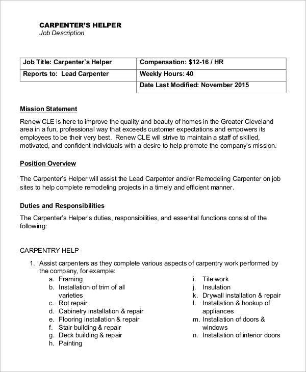 Duties Of A Carpenter Construction Services Carpentry And The - carpenter job description