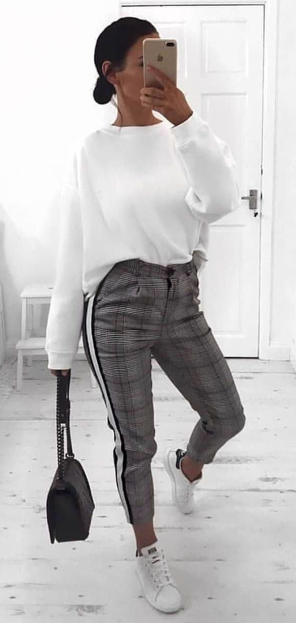 white sweater and gray pants outfit #spring #outfits