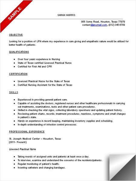 Sample Lpn Resume   Plainresume.co