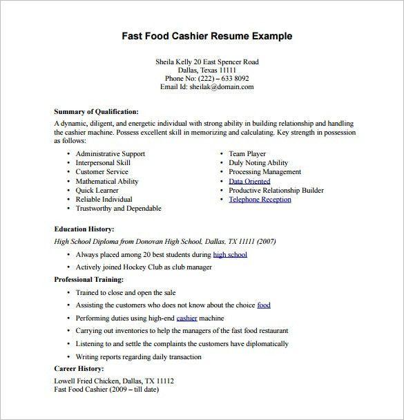 Cashier Resume Format Unforgettable Part Time Cashiers Resume