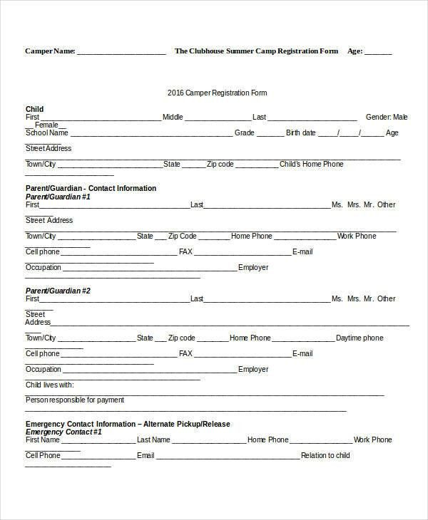 ... Enrollment Form Template Word Registration Form Template 9 Free   Enrolment  Form Template ...  Enrollment Form Template Word