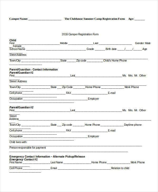 ... Enrollment Form Template Word Registration Form Template 9 Free   Enrolment  Form Template ...  Enrollment Form Template Word