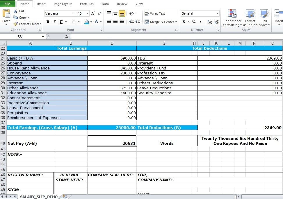 Salary Slip Sample Salary Slip Template Word Excel Formats, Top 5 - payslip template in excel