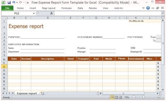 ... Auto Expense Report Auto Expense Report Template Free Layout   Free  Printable Expense Report Forms ...