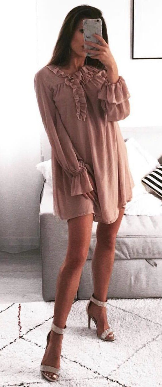 champagne color long-sleeved sheath dress #spring #outfits