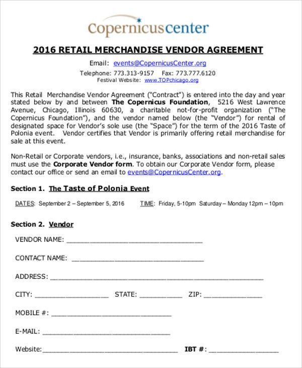 Vendor Contract Agreement 10 Vendor Agreement Templates Free - sample vendor contract