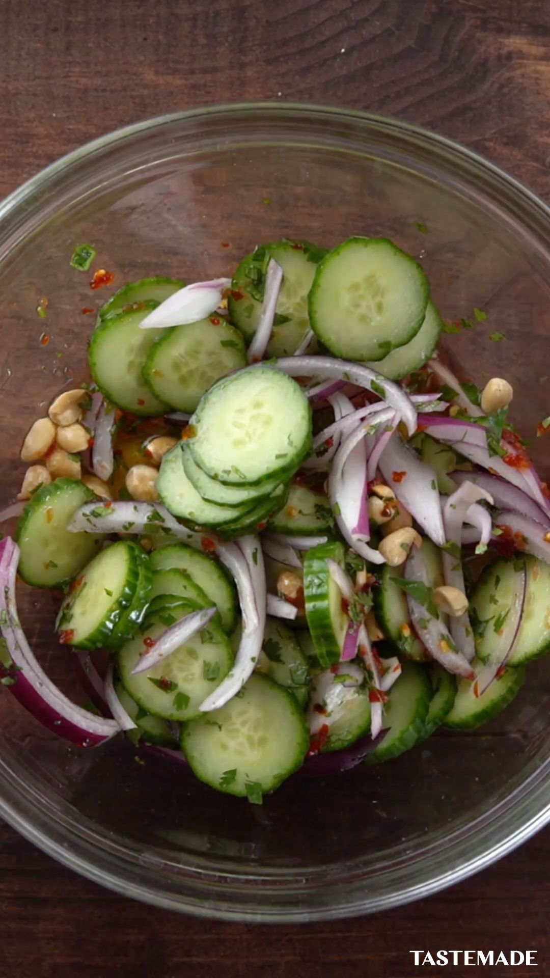 Thai Shaking Beef With Red Onion and Cucumber Salad