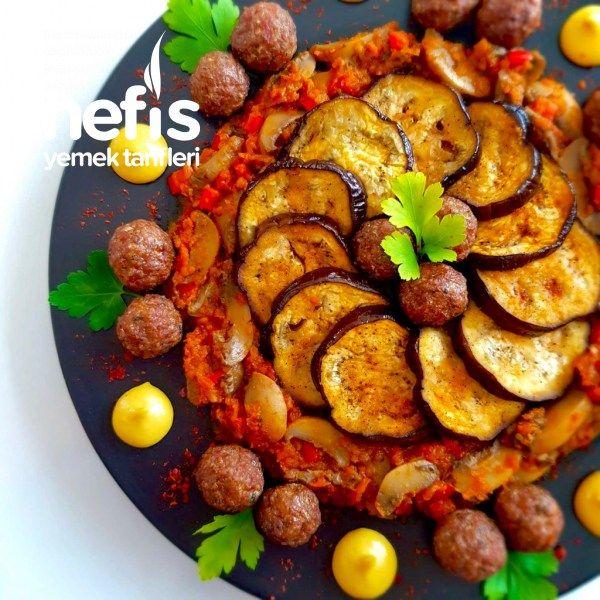 Misket Köfteli Mantar Soslu Fırın Patlıcan - Nefis Yemek Tarifleri