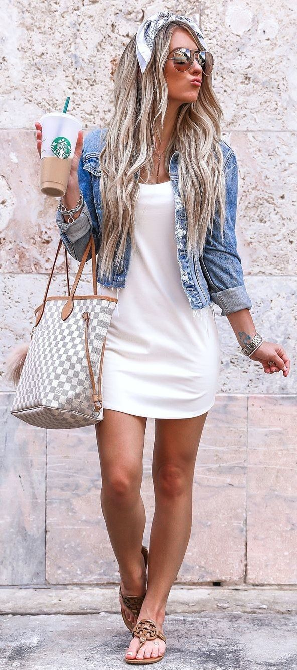 white scoop-neck dress and blue denim jacket #spring #outfits