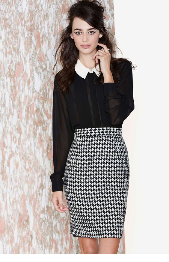 Black shirt and a printed pencil skirt