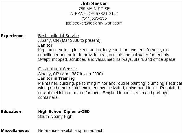 janitor resume objective