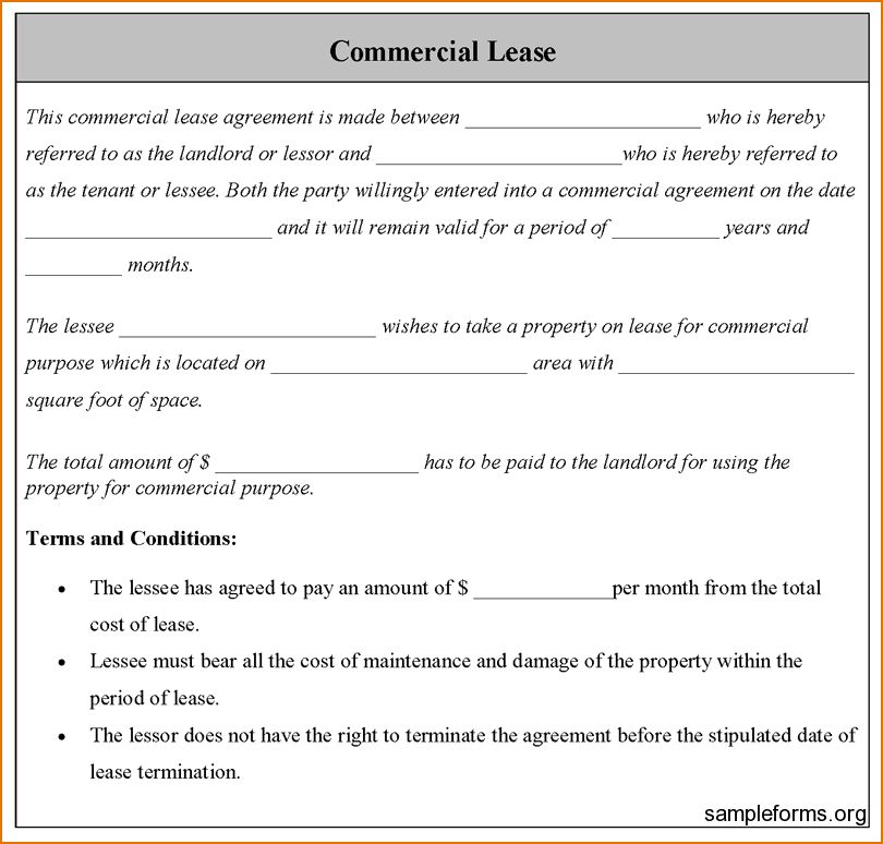 Free Commercial Lease Agreement Forms To Print Free Commercial - sample commercial lease agreement