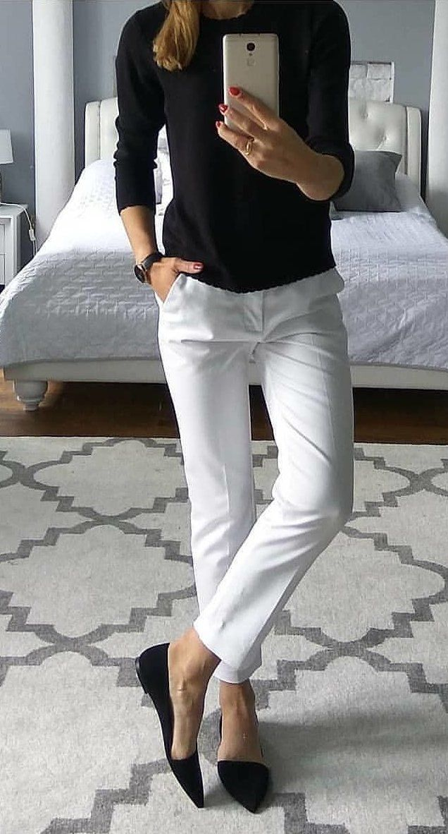 white straight-cut jeans #spring #outfits