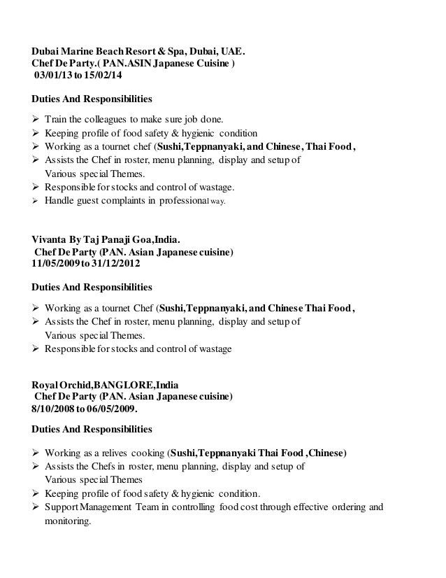 thai chef sample resume sous chef cv 13 files chef bimal - Thai Chef Sample Resume