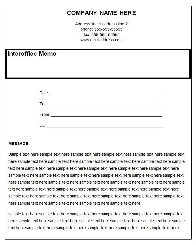 Sample Interoffice Memo  BesikEightyCo