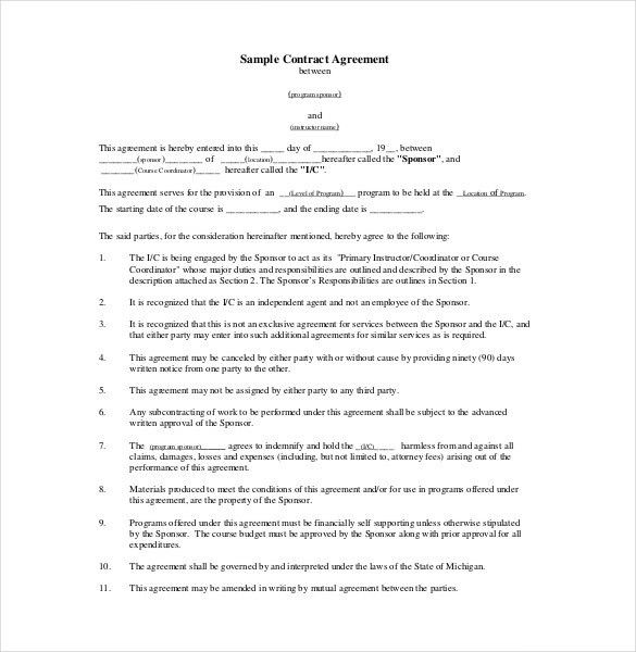 Agreement Format Agreement Template 23 Free Word Pdf Documents - commission contract template