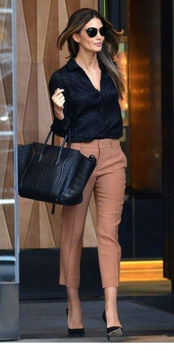 Black shirt and brown pants