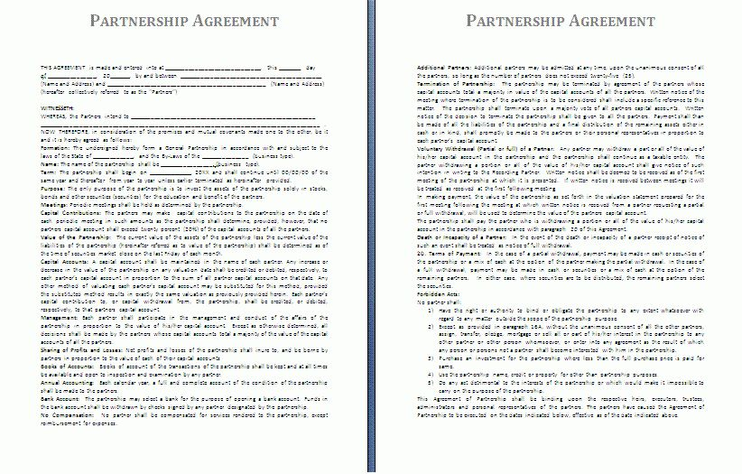 Partner Contract Sample Partnership Agreement Template Form With - real estate partnership agreement