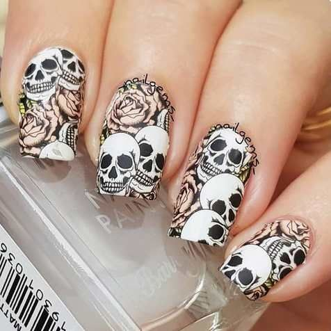 Beyond the grave skull nail art water decal wraps only 89p Worldwide shipping #nails #nailsart #naildesigns #nailart #nailswag #nailstagram #nails2inspire #skullnails #nailideas #nailsupplies #beauty #fashion #halloweenmakeup